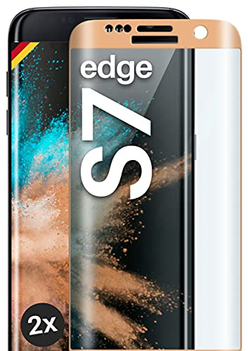 moex Protector de pantalla completo compatible con Samsung Galaxy S7 Edge – Protector de pantalla sin bordes, pantalla completa, cristal protector curvado 3D, transparente 2 x dorado