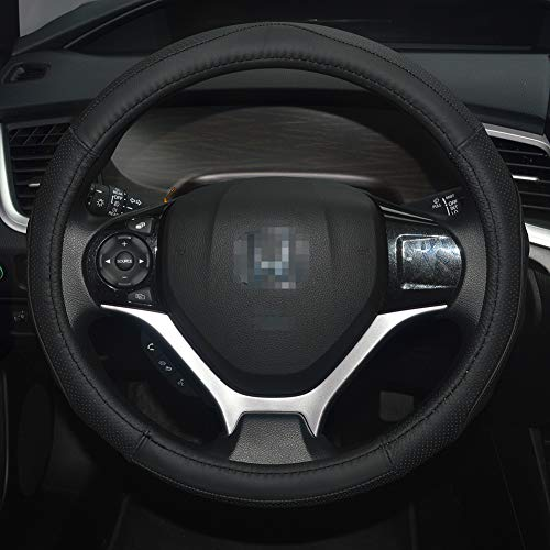 QianBao Genuine Leather Car Steering Wheel Cover Black for 13.5 to 14.2 inches Steering Wheels, Sweat Absorbent (Black/Black)
