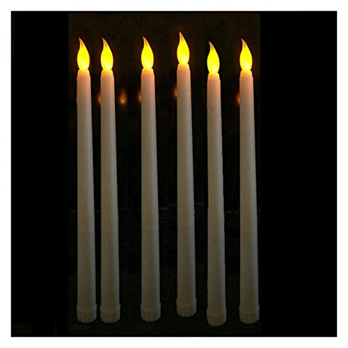 Caigaodz Candle Lights Pack of 6 Remote or not Remote Warm White Battery Taper Candlesticks,Timer Christmas Window Electronic Candles for Wedding Event (Color : Yellow not Remote A)
