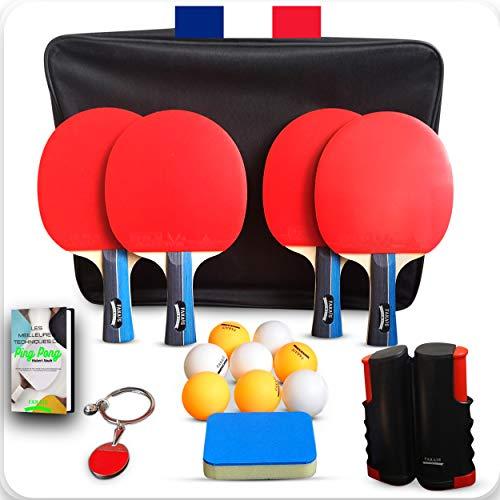 FAKAIS Set Raquette de ping Pong Professionnel, 4 Raquettes de Tennis de Table-8 balles-Filet ping Pong portatif pour Table-Sac - Eponge Raquette. Jouez en Famille Entre Amis ou en compétition
