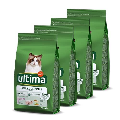 Ultima Croquettes Contrôle des Boules de Poils au Dinde pour Chat: Pack 4 x 1,5kg - Total 6 kg