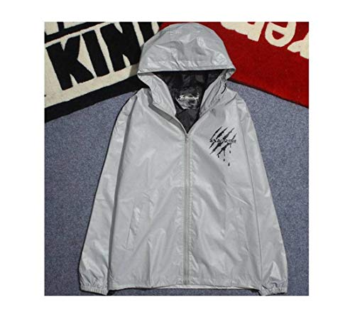 JUSTTIME herfst Koreaanse 3M reflecterende jas mannen en vrouwen krasdruk mantel losse student paar sport windjas mode Large zoals afgebeeld