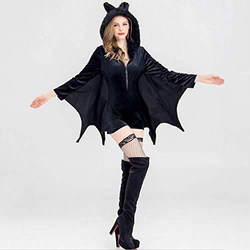 YyiHan Cosplay Disfraz, Uniforme de Cosplay del Juego de Maquillaje de Halloween Traje Negro murciélago Vampiro de Las Mujeres del Partido del Traje del Traje del Funcionamiento de la Etapa