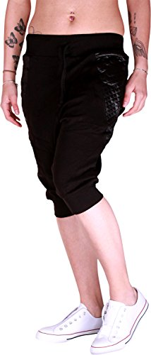 Dames jogging bermuda shorts | korte joggingbroek voor vrouwen | lichte katoenen broek met zakken | korte trainingsbroek met manchetten | vrijetijdsbroek leder applicatie 581