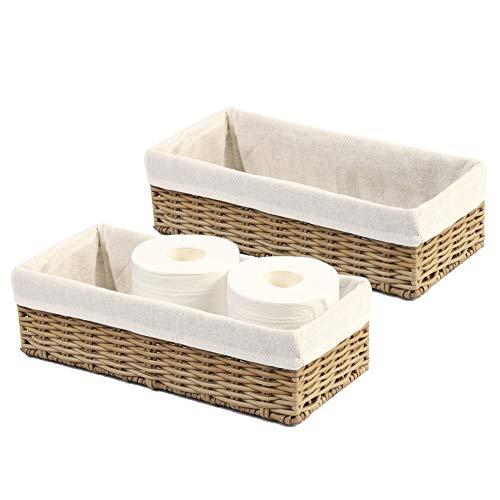 HOSROOME Bathroom Storage Organizer Basket Bin Toilet Paper Basket Storage Basket for Toilet Tank Top Decorative Basketfor Closet, Bedroom, Bathroom, Entryway, Office(Set of 2,Beige)