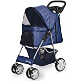 Paws & Pals City Walk N Stride 4 Wheeler Pet Stroller for Dogs and Cats (Navy Blue)