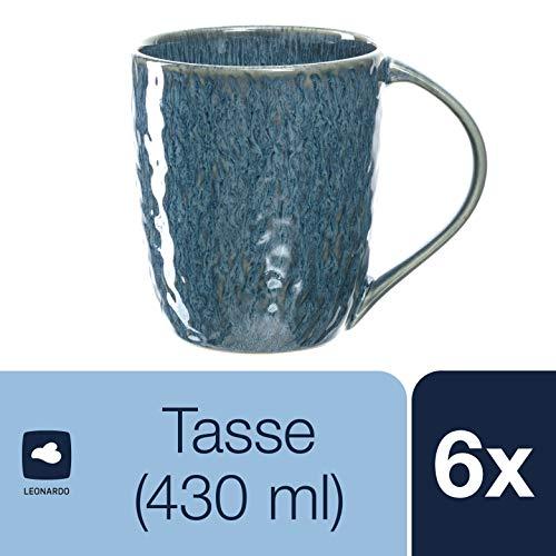 Leonardo Matera Keramik-Tassen, 6-er Set, spülmaschinengeeignete Kaffee-Tassen, mikrowellenfeste Tee-Tassen mit Glasur, blau, 430 ml, 018548