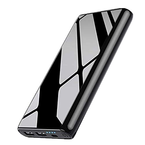 Portable Charger Power Bank 25800mAh, 【NEW Mirror Design】Huge Capacity Phone Charging with 4 LED Indicators, 2 USB Ports External Cell Phone Battery Pack for iPhone,Samsung Android,Tablet etc