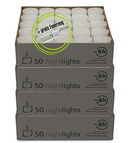 DecoLite: 200 Teelichter Nightlights von Wenzel mit transparenter Hülle - 7-8 Stunden Brenndauer inkl. Stabfeuerzeug
