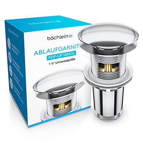 Bächlein Universal Ablaufgarnitur mit Überlauf für Waschbecken & Waschtisch - Chrom Pop Up Ventil – inkl 3 Dichtungen für Waschbecken aller Art, Ablaufventil...