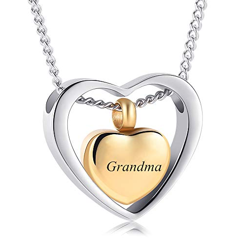 Yinplsmemory Double Heart Ash Necklace Urn Ashes Keepsake Memorial Pendant Cremation Jewelry