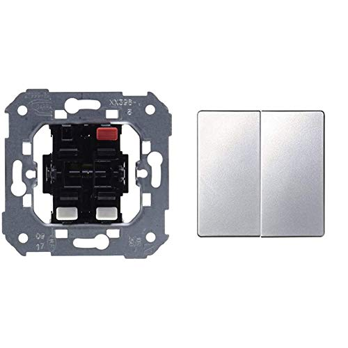 Simon 75398-39 Conjunto de 2 interruptores, 10AX, 250V con sistema de conexión de terminal rápido + 82026-33 tecla grupo int.+conm. s-82 aluminio mate Ref. 6558233203