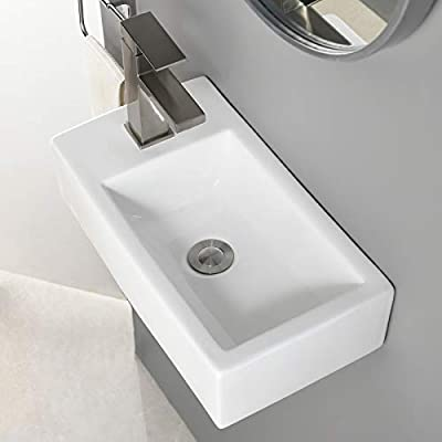 VALISY Modern 18x10 Inch Rectangular White Porcelain Ceramic Wall Mount Corner Small Bathroom Sink? Above Counter Top or Wall Hung Bath Vanity Lavatory Hand Wash Vessel Sink with Single Faucet Hole