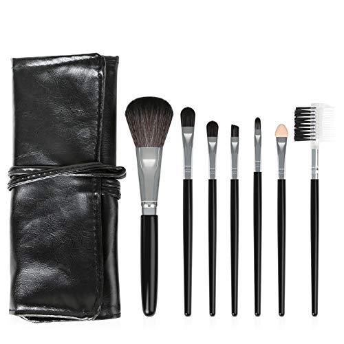 Momangel Lot de 7 pinceaux de maquillage synthétiques pour fond de teint, fard à paupières, eyeliner, Fibres artificielles, plastique, cuir synthétique., Noir