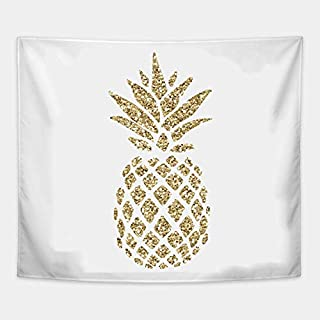 Cxiuxiu Tapestry Wall Hanging, Wall Tapestry with Gold Glitter Pineapple Home Decorations for Living Room Bedroom Dorm Decor 6040