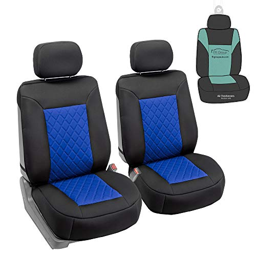 FH Group FB088102 Neosupreme Deluxe Quality Car Seat Cushions (Blue) Front Set with Gift - Universal Fit for Cars Trucks and SUVs