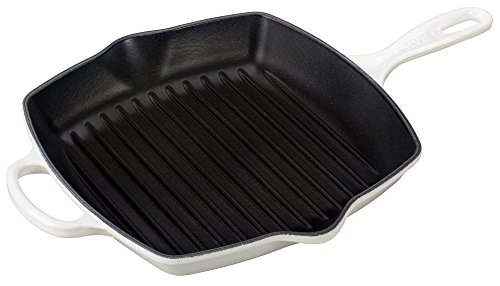 Le Creuset Enameled Cast Iron Signature Square Skillet Grill, 10.25', White