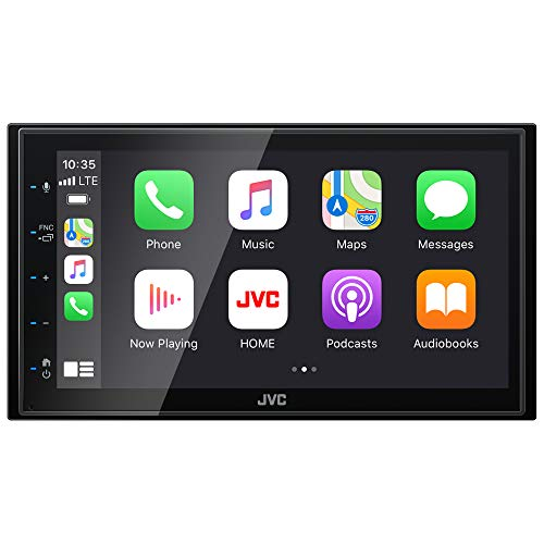 "JVC KW-M56BT Apple CarPlay Android Auto Multimedia Player w/ 6.8"" Capacitive Touchscreen, Bluetooth Audio and Hands Free Calling, MP3 Player, Double DIN, 13-Band EQ, SiriusXM, AM/FM Car Radio"
