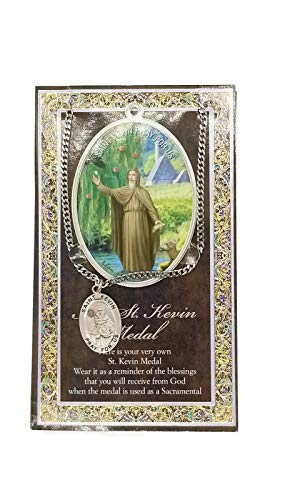 (8 7/18) Saint Kevin Genuine Pewter Medal with Stainless Chain & Prayer Card W Copyrighted Paul Herbert Blessing PATRONA Series
