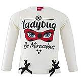 Miraculous LadyBug e Cat Noir - Camiseta de manga larga - Full Print algodón - niña 1139 blanco 5 años