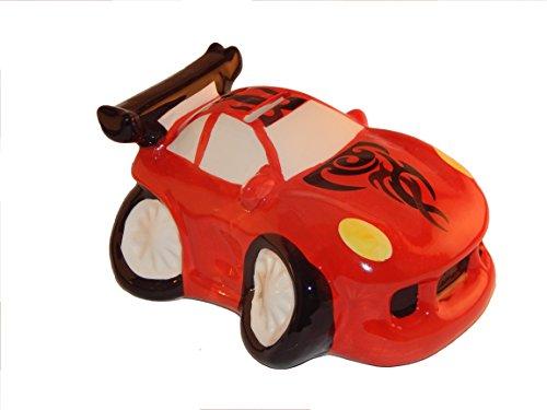 Jack6119 Spardose Auto aus Keramik Sportwagen Rot, Sparschwein