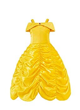 Juammy Princess Girls Party Costumes Belle Cosplay Yellow Dress&Crown,110 3-4 Years