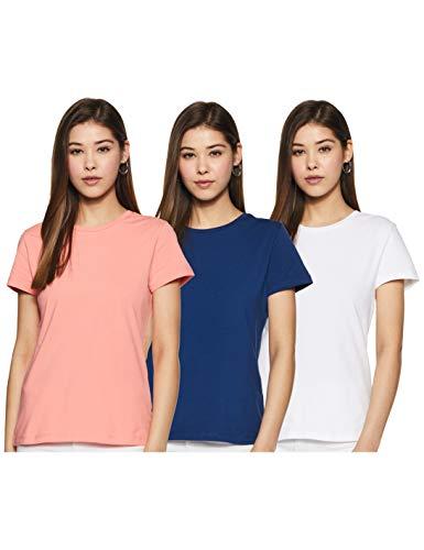 Amazon Brand – Symbol Women's Solid Regular Fit Half Sleeve T-Shirt (Combo Pack of 3)