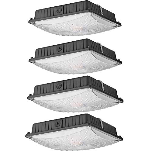 1000LED LED Canopy Lights, 45W (4 Pack), Ceiling Fixtures Carport Light 5300LM Daylight 5000K, 175W HID/HPS Replacement, Waterproof IP65 Gas Station and Garage Light