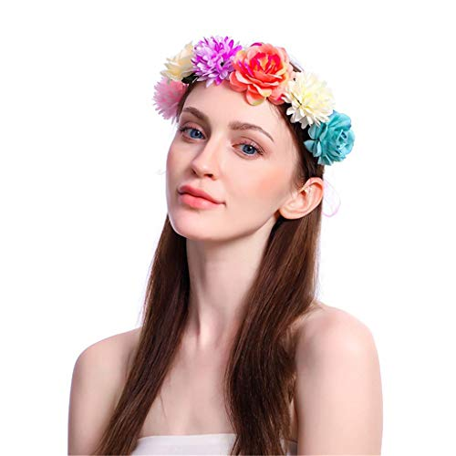 QingJiu Fascia per capelli da donna con corona di fiori Corona floreale da sposa Ghirlanda da sposa