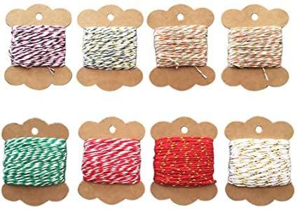 Bindfaden aus Baumwolle, 8 Rollen, Geschenkverpackung, bunte Bindfäden, Weihnachtsschnur für Bastelarbeiten, Paketdekoration, Kunsthandwerk, Weihnachtsgeschenkverpackung (verschiedene Farben)