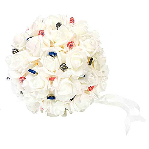 """Ramo Artesanal Decorativo de Novia para Alfileres""""Bouquet Blanco"""". Complementos. Joyas y Bisutería. Regalos Originales. Detalles de Bodas, Comuniones, Bautizos. CC"""