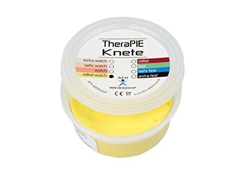 TheraPIE Knete, 85 g, Therapie Knetmasse, 8 verschiedene Stärken (gelb: mittel weich)