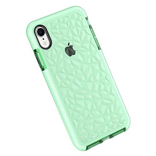 Funda iPhone XR, Carcasa Silicona Transparente Protector TPU Airbag Anti-Choque Ultra-Delgado Anti-arañazos Case 3D Modelo Geométrico de Diamante Funda para Teléfono (iPhone XR, Verde)
