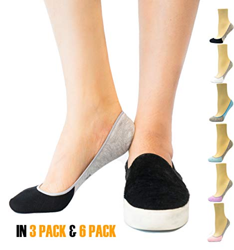 Thirty 48 Women's No Show Loafer Socks, Boat Shoe Liners with Non Slip Grip (One Size (6-9), Black(6 Pairs))