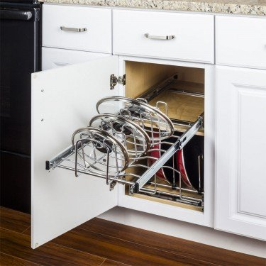 Hardware Resources MPLO215-R Cookware Lid Pullout Organizer for 15 in. Base Cabinet