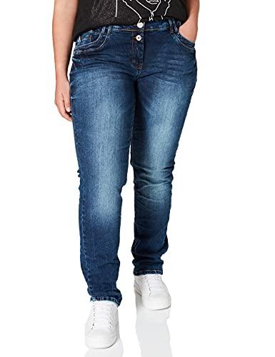 Cecil Damen 373790 Style Scarlett Loose Fit Jeans, Mid Blue Wash, 33W / 32L