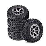 keenso Neumáticos de Oruga RC, Neumáticos de Goma 1/16 RC Crawler Compatible con Coche Militar con Control Remoto, 4PCS / Set