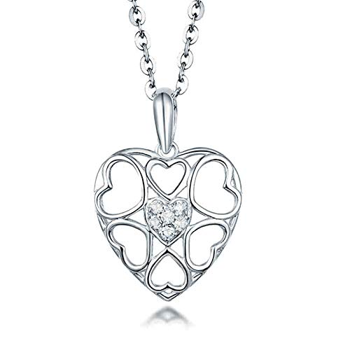 Aartoil 18K White Gold Pendant Necklace for Women s Hollow Heart with 0.05ct Diamond Pendant Christmas Valentine's Day Gift with 18K Chain