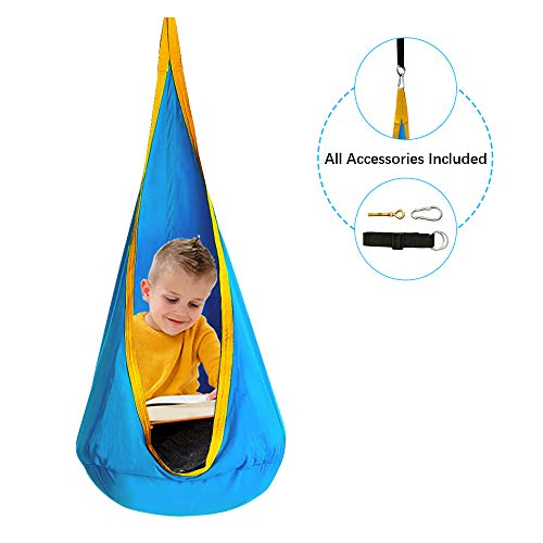 C-Chain Folding Hanging Pod Swing Seat 100% Cotton Child Swing Chair Indoor and Outdoor Hammock Chair for Kids, Hardware Accessories Included (Blue)
