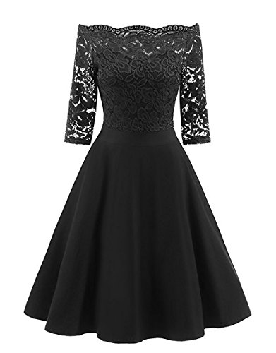 AnKoee Women's Formal Evening 3/4 Sleeve Lace Dress Off Shoulder Ball Gown Wedding Dresses (Black, XX-Large)