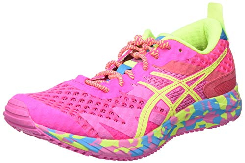Asics Gel-Noosa Tri 12, Road Running Shoe Mujer, Pink GLO/Safety Yellow, 38 EU
