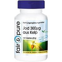 Yodo 300µg de algas kelp marrones, natural, vegetariano, 180 kelp en comprimidos y conservantes