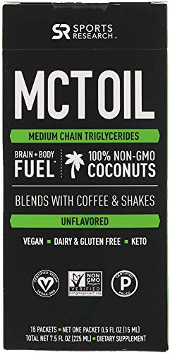 Premium MCT Oil derived only from Non-GMO Coconuts   Keto Fuel for The Body & Brain   Vegan Certified, Keto Friendly and Non-GMO Verified (15 Travel Packets)