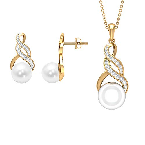 Pearl and Diamond Jewelry Set 16.43 CT, Gold Pendant Set with Earrings (8 MM, 10 MM Round Freshwater Pearl),18K Yellow Gold Without Chain