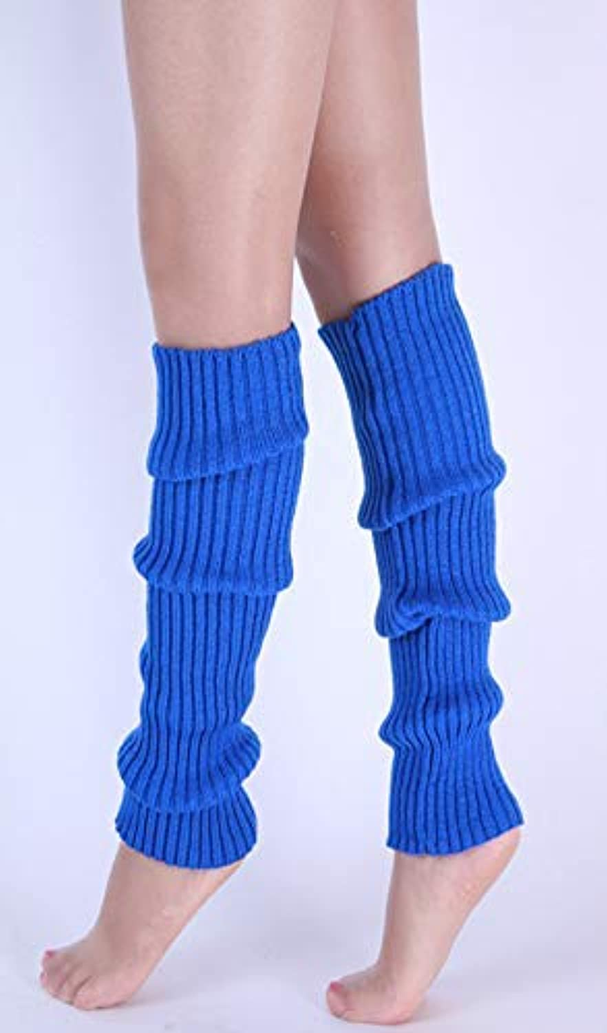 Comfortable Arm Warmer Leg Stocking Fluorescent color Wool Foot Cover Knitted Foot Cover Stacked Socks Set Boots Foot Cover (color   Sapphire)