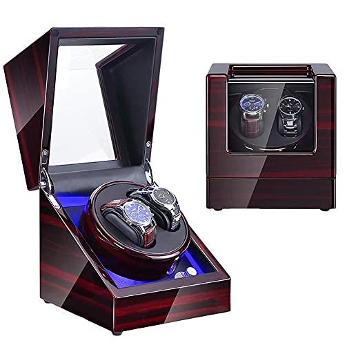 DFJU Watch Winder Box 2 für Automatikuhren, die mit einem superleisen Motor mit Paargröße, Wechselstrom oder Batterie betrieben Werden können (Farbe: B)