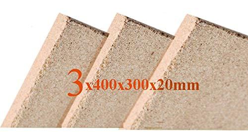 3x20 mm Vermiculite Platte Brandschutzplatten 400x300x20mm Schamotte Ersatz