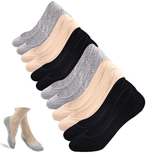 Kordear Damen Unsichtbar Sneaker Socken - Baumwolle Füßlinge Niedrige Socken Kurze Sportsocken Lässig Atmungsaktiv Bootsockens mit Rutschfest Silikon (Akt + Schwarz + Grau)