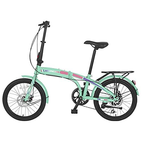 Adult Folding Bicycle, 20'' Folding Bike 7 Speed Compact City Commuter Bike Mountain Bike, Foldable Compact Bicycle Steel Easy Folding Bicycle for Adult Men and Women Teens (Cyan)