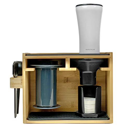 Barista Lab Premium Bamboo Caddy Rack Organizer Display And Coffee Station For Aeropress Coffee Maker Holds Filters Cups Accessories With Fitted Silicone Dripper Mats